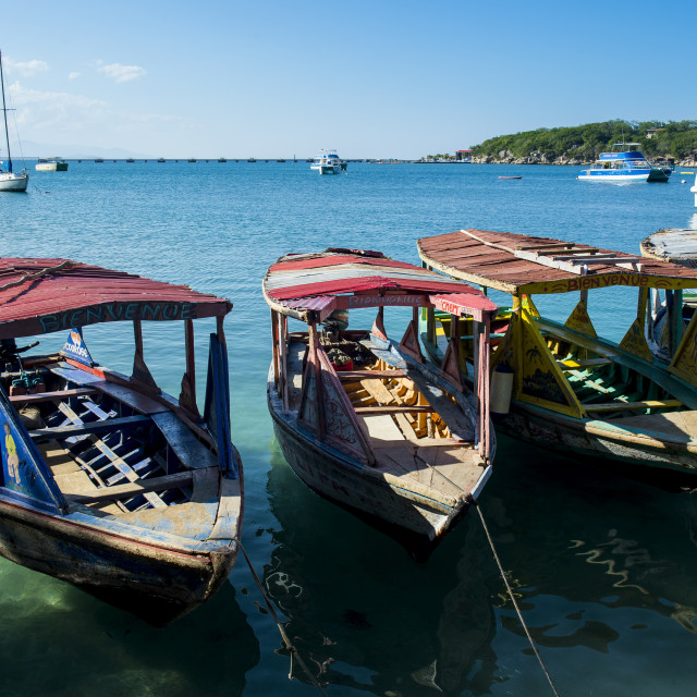 """Local tourist boats Labadie, Haiti, Caribbean"" stock image"