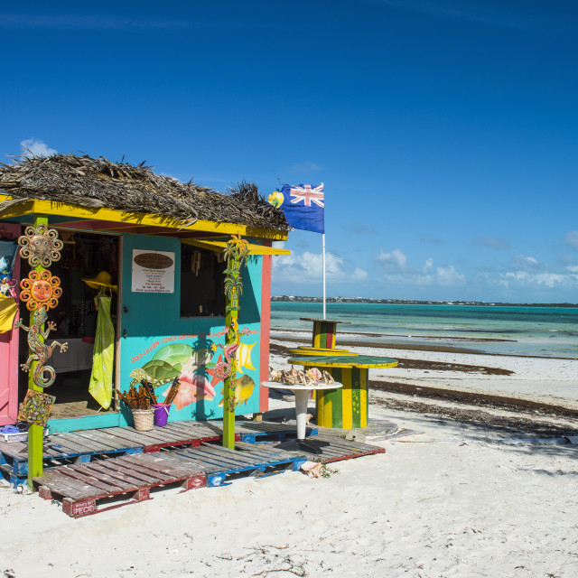 """Colourful shop on Five Cay beach, Providenciales, Turks and Caicos"" stock image"