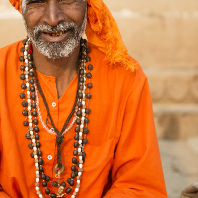 """Sadhu on the banks of the Ganges"" stock image"
