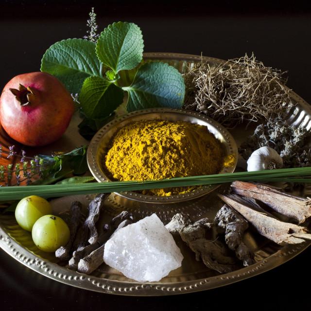 """Different Indian spices on display at Swaswara, Karnataka, India, Asia"" stock image"