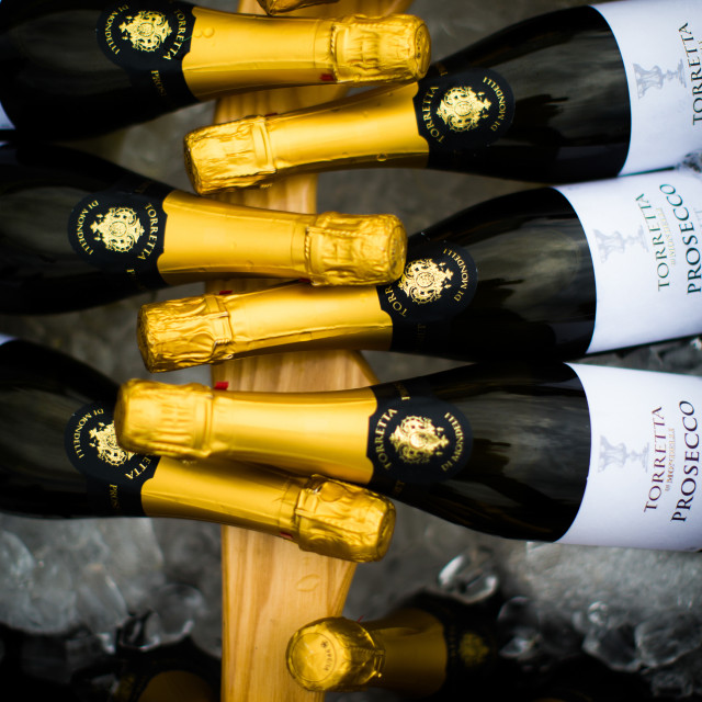 """Wedding images, bottles of prosecco, United Kingdom, Europe"" stock image"