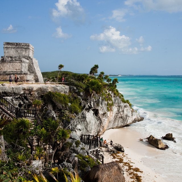 """El Castillo at Tulum, Yucatan, Mexico, North America"" stock image"