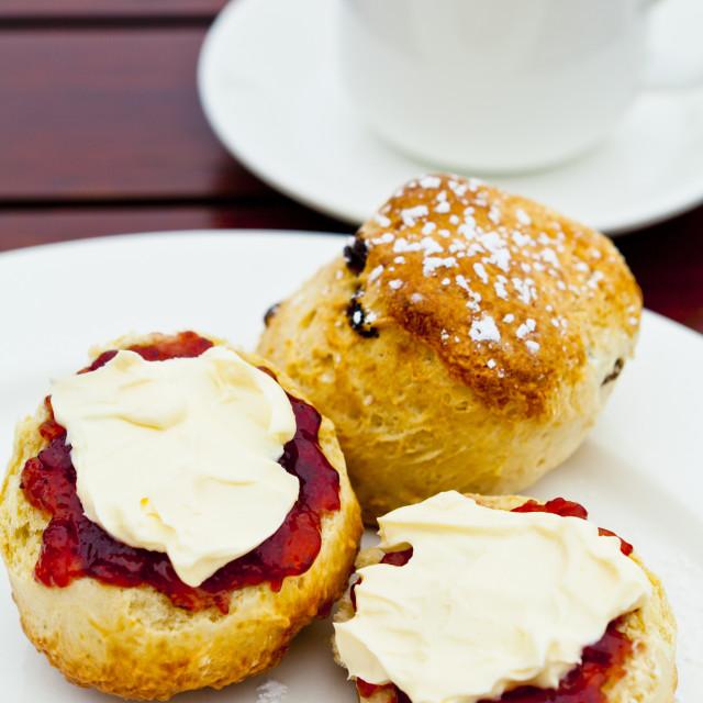 """Cream Tea, Cornwall, United Kingdom"" stock image"