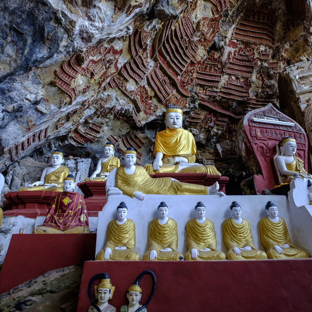 """Kaw Gon or Kaw Goon cave, dated 7 th. century, Hpa An, Kayin state, Myanmar"" stock image"