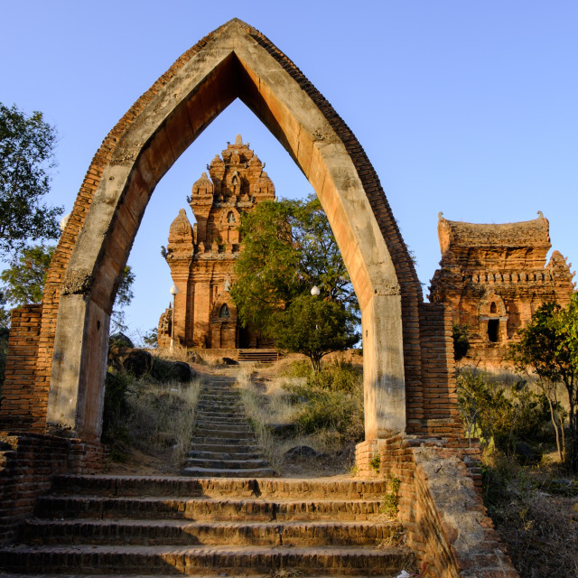 """""""Cham towers of Po Klong Garai, dating from 13th and 14th century, Phan Rang,..."""" stock image"""