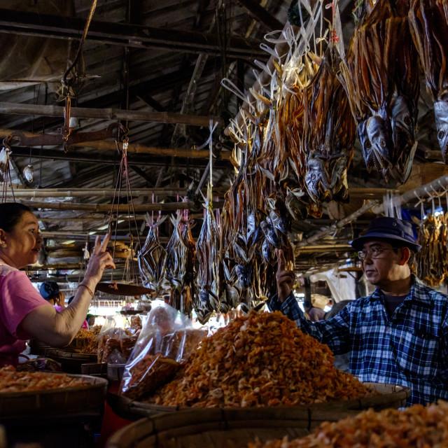 """Fish market, Sittwe, Rakhaing state, Myanmar (Burma), Asia"" stock image"