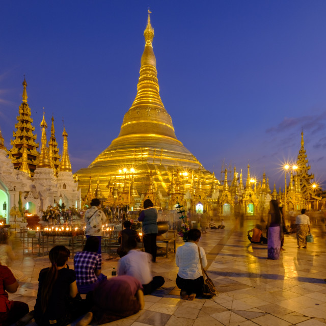 """Pagoda of Shwedagon, dated between 6th and 10th centuries, Yangon (Rangoon),..."" stock image"