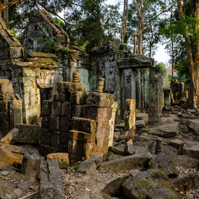 """""""Temple of Prasat Thom (Prasat Kompeng), dated 9th to 12th century, temple..."""" stock image"""