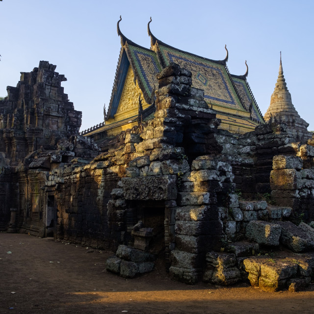 """Vat Nokor, Angkorian sanctuary dated 11th century and modern temple, Kompong..."" stock image"