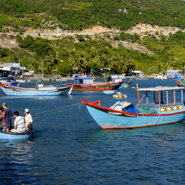 """Fishing boats in Vinh Hy bay, Nui Cha national park, Ninh Thuan province,..."" stock image"