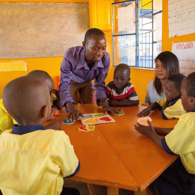 """""""Theoneste Habiyaremye.Local nursery teacher in Murama district, eastern..."""" stock image"""