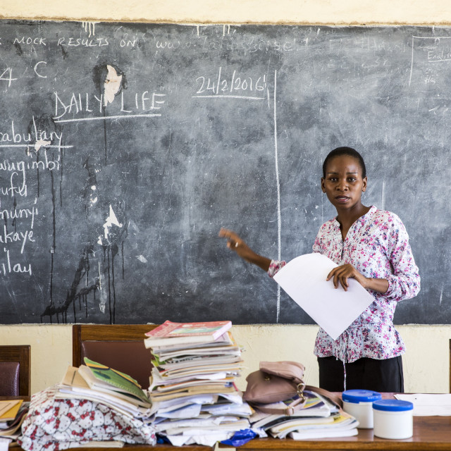 """Local teacher Rebecca Ngovano during a training session for all the teachers..."" stock image"