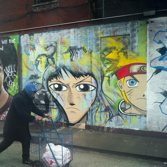 """Man and grafitti, New York"" stock image"