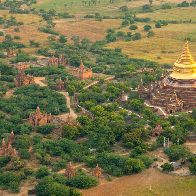"""Aerial view of the ancient city of Bagan where more than 2200 ancient temples..."" stock image"