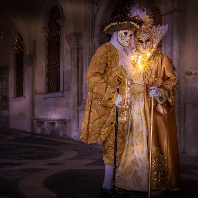 """Costumes and masks during Venice Carnival, Venice, UNESCO World Heritage..."" stock image"