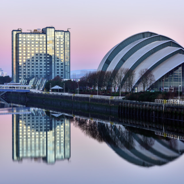 """Sunrise at The Clyde Auditorium, also known as the Armadillo, Glasgow,..."" stock image"