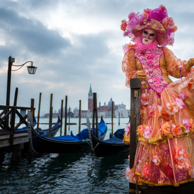 """Costume and mask during Venice Carnival, Venice, UNESCO World Heritage Site,..."" stock image"