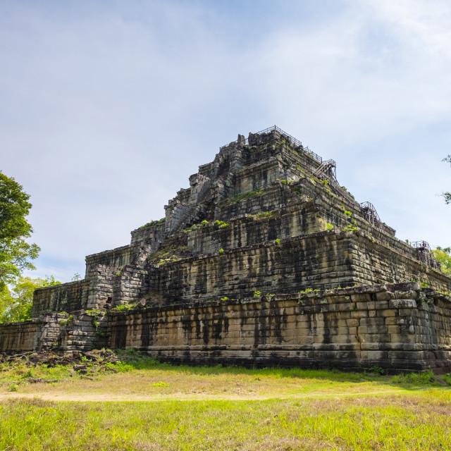 """Seven'Äëtiered pyramid Prasat Prang at Prasat Thom, Koh Ker temple ruins,..."" stock image"