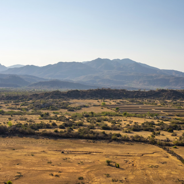 """Mountains and desert near Phan Rang–Thap Cham, Ninh Phuoc District, Ninh..."" stock image"