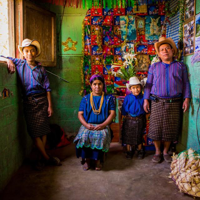 """""""Mayan Family Portrait, Lake Atitlan, Guatemala"""" stock image"""