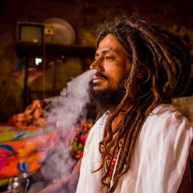 """""""Holy Man Smoking, Jaipur, India"""" stock image"""