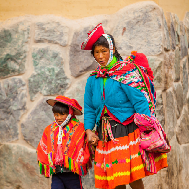 """Traditional Peruvian Incan Woman and her son, Ollantaytambo, Peru"" stock image"