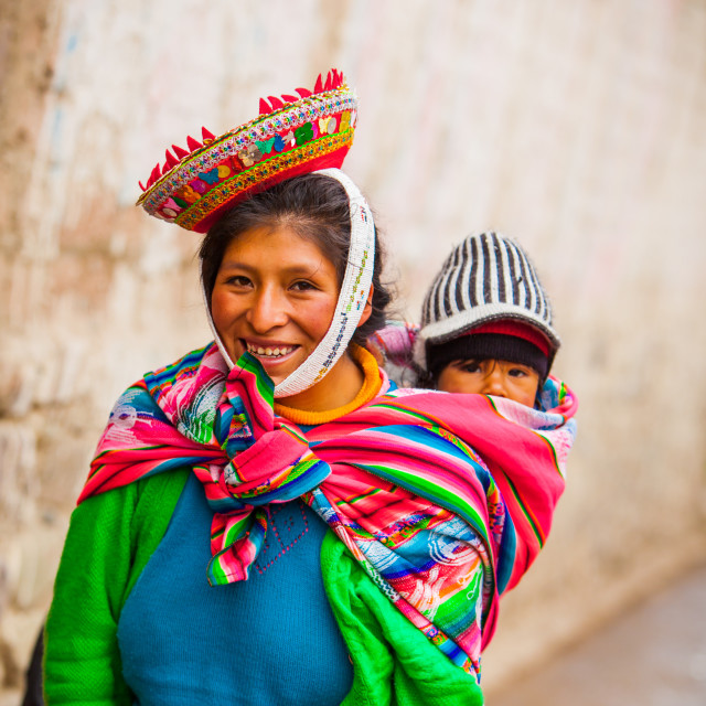"""Traditional Peruvian Incan Woman and her child, Ollantaytambo, Peru"" stock image"