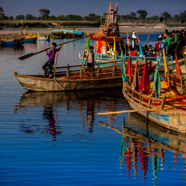 """Colorful Boats at the Holi Festival, Vrindavan, India"" stock image"
