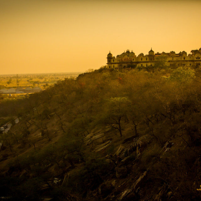 """Hilltop Ruins at Sunset, Mathura, India"" stock image"