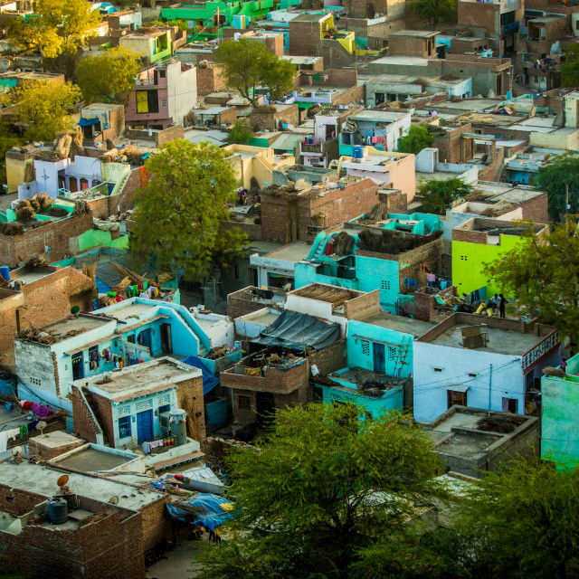 """Shanty houses of Mathura, India"" stock image"