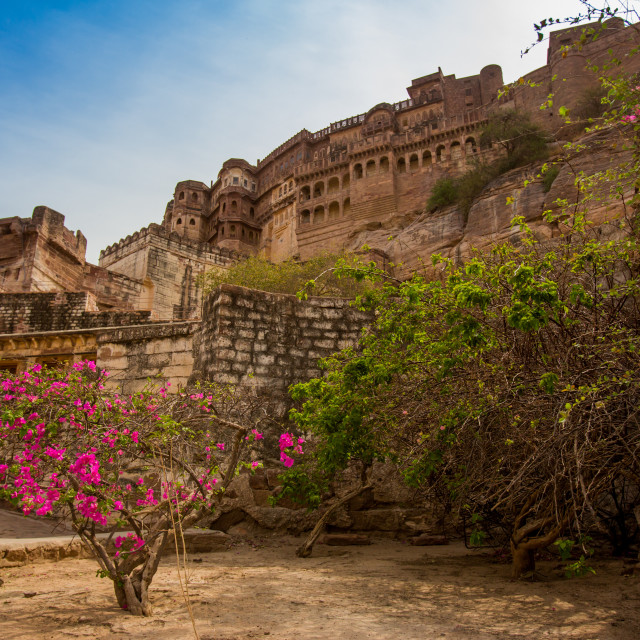 """The inner wall of Mehrangarh Fort in Jodhpur, the Blue City, Rajasthan, India"" stock image"