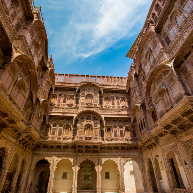 """Inner courtyard of the Mehrangarh Fort in Jodhpur, the Blue City, Rajasthan,..."" stock image"