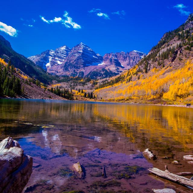 """The Maroon Bells, Aspen, Colorado"" stock image"