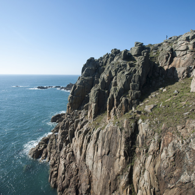 """Rugged Cornish coastline near Land's End at the westernmost part of the..."" stock image"