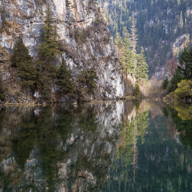 """Jiuzhaigou on the edge of the Tibetan Plateau, known for its waterfalls and..."" stock image"