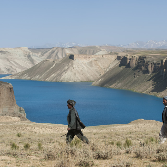 """""""The brilliant blue lakes of Band-e Amir in central Afghanisstan supposedly..."""" stock image"""