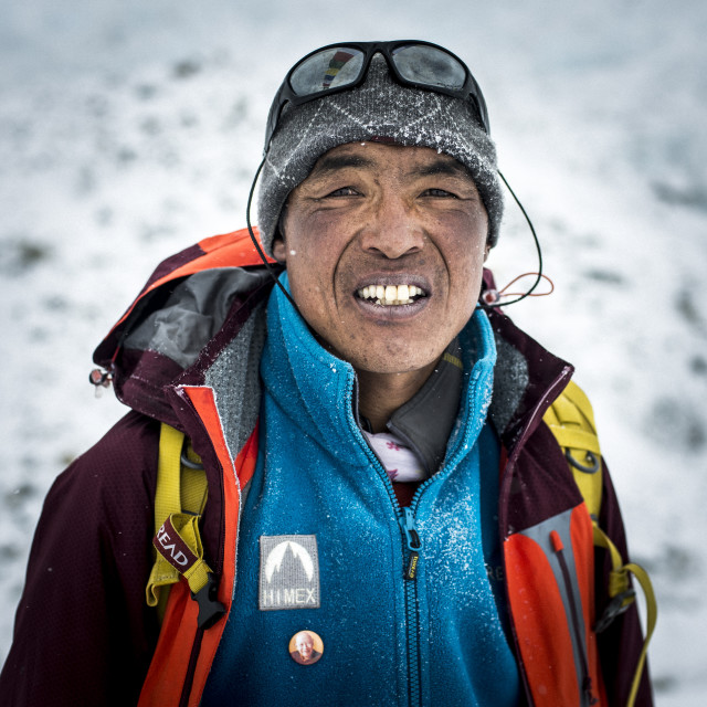 """""""A Sherpa working at Everest Base Camp in Nepal"""" stock image"""