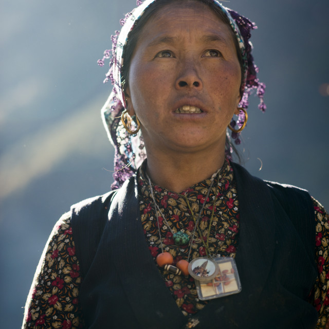 """A Tibetan woman in the Langtang valley in Nepal"" stock image"