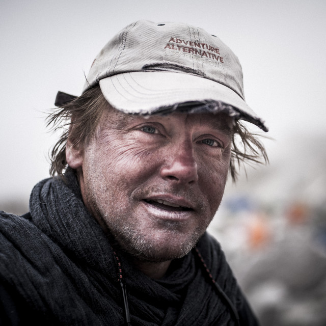 """""""A climber at Everest base camp the day after he has attempted climbing..."""" stock image"""