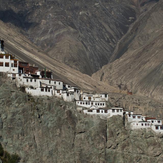 """Diskit Monastery in the remote Nubra Valley in Ladakh, in north India"" stock image"