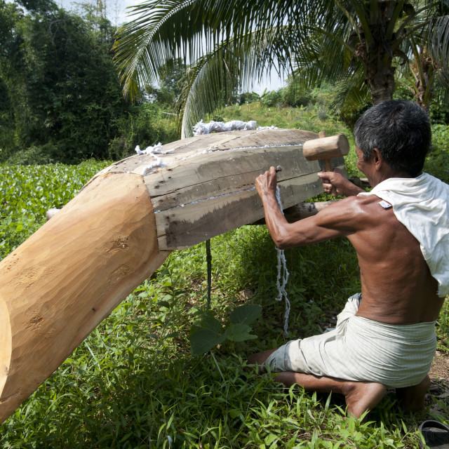 """A man from Rangamati makes a traditional style dugout canoe in Bangladesh"" stock image"