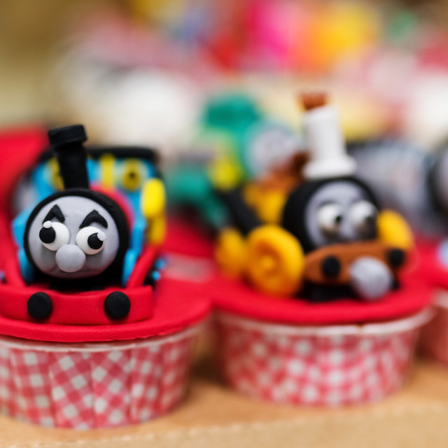 """cupcake with Thomas train model"" stock image"