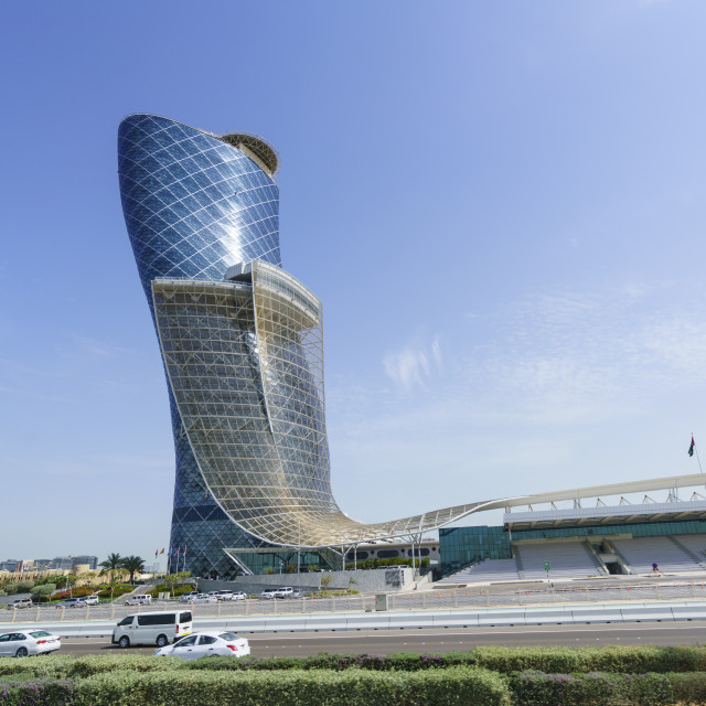 """Capital Gate, sometimes called the leaning tower of Abu Dhabi, United Arab..."" stock image"