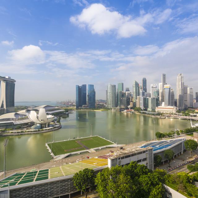 """View over Singapore skyline around Marina Bay with Marina Bay Sands,..."" stock image"