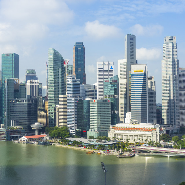 """Singapore skyline, financial district skyscrapers with the Fullerton Hotel..."" stock image"