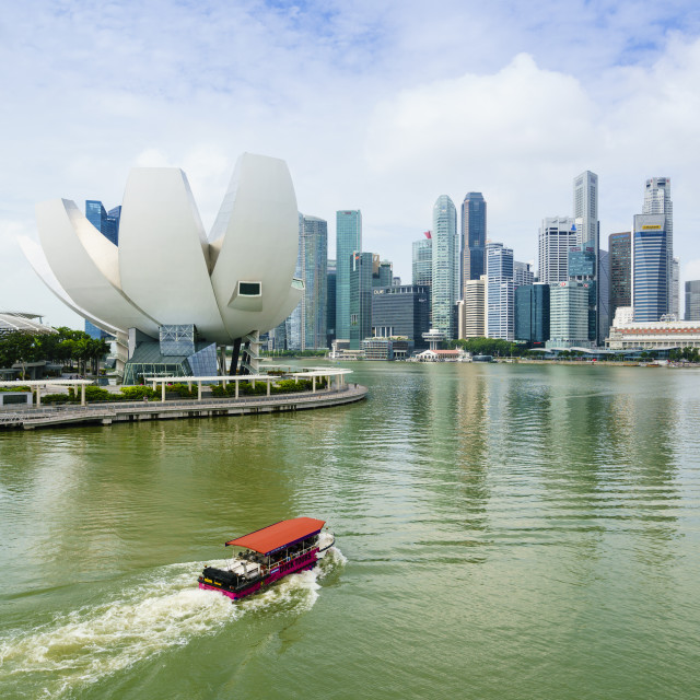 """""""Singapore skyline, financial district skyscrapers with the lotus flower..."""" stock image"""