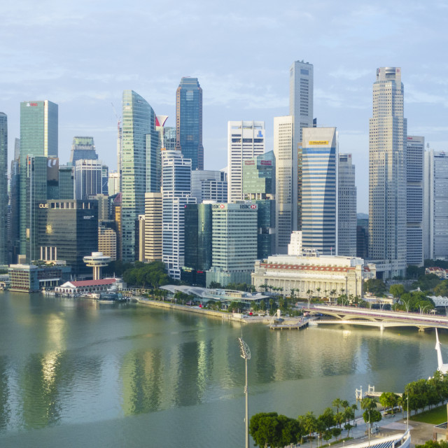 """""""Singapore skyline, financial district skyscrapers with the Fullerton Hotel..."""" stock image"""