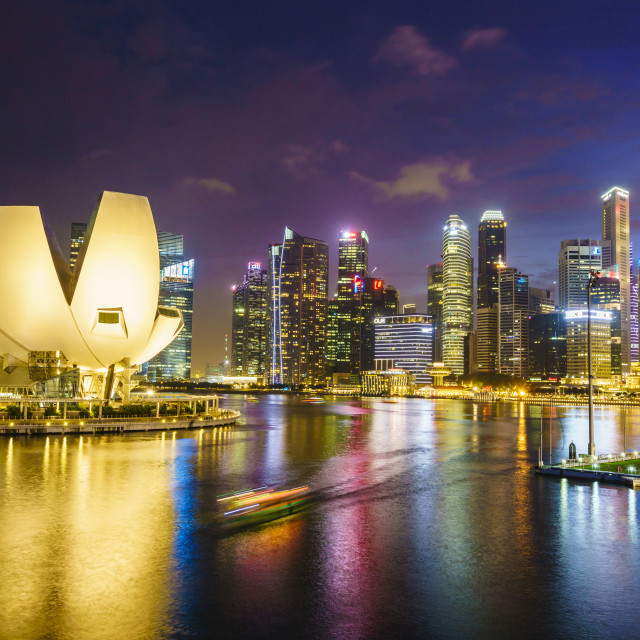 """The lotus flower shaped ArtScience Museum overlooking Marina Bay with the..."" stock image"