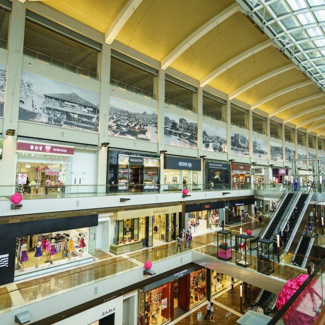 """The Shoppes at Marina Bay Sands, Singapore's largest shopping mall in Marina..."" stock image"