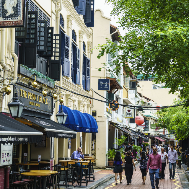 """Bars and restaurants in Boat Quay, Singapore, Southeast Asia, Asia"" stock image"